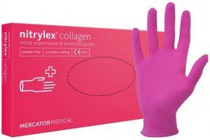 """Nitrylex® PF kollagénes púdermentes rózsaszínű nitril egészségügyi és munkavédelmi kesztyű """"XL"""" méret"""