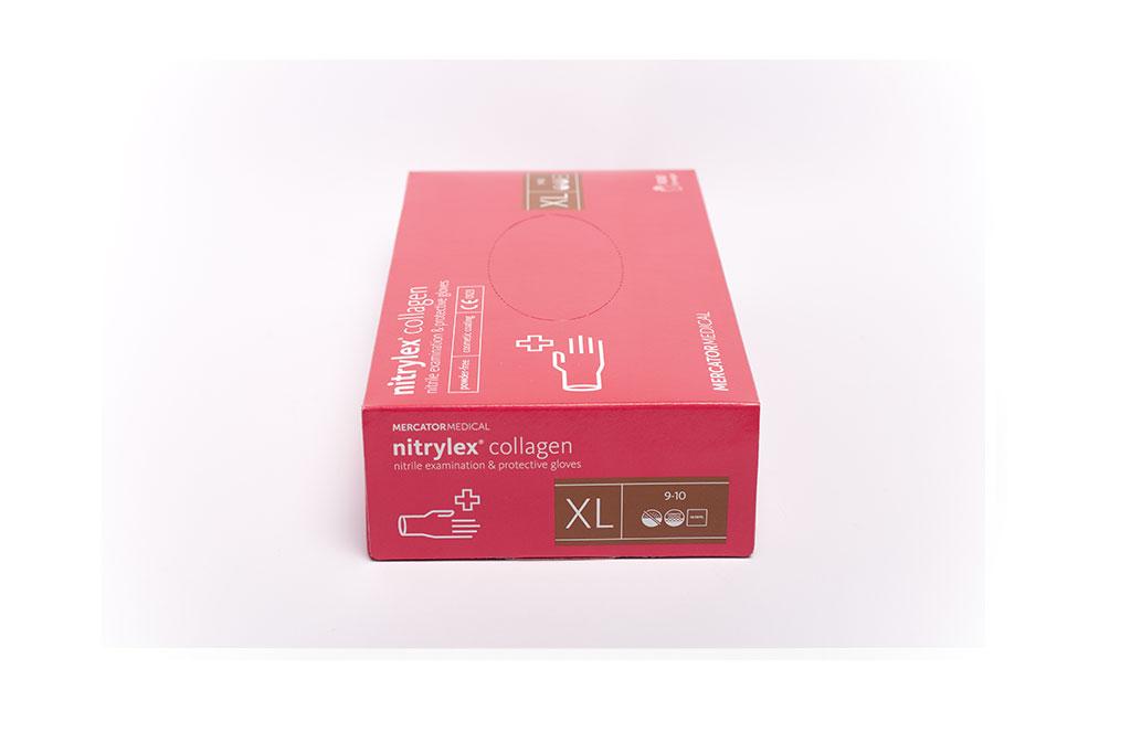 Nitrylex® PF kollagénes púdermentes rózsaszínű nitril egészségügyi és munkavédelmi kesztyű